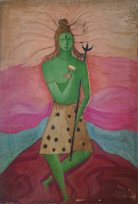 Shiva, Religious, Abstract,Shiva,ART_2204_17545,Artist : Beni Bahal,Mixed Media