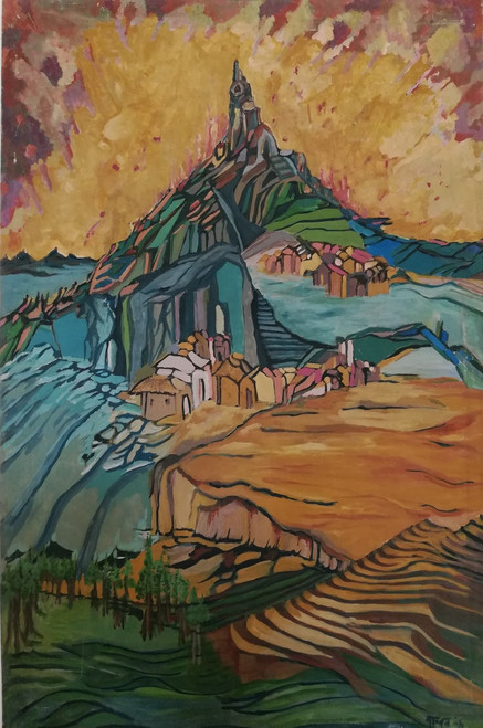 Mountains, Valley, Abstract,Valley,ART_2204_17542,Artist : Beni Bahal,Oil