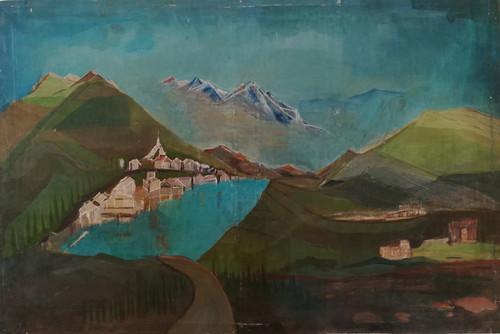 Mountains, Lake, Landscape,Mountains,ART_2204_17541,Artist : Beni Bahal,Oil
