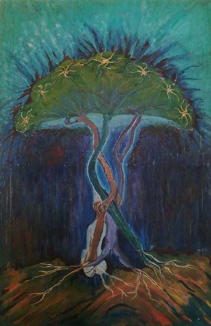 Tree, Moonlight, Glow, Peace, Tranquility,Glow,ART_2204_17539,Artist : Beni Bahal,Oil