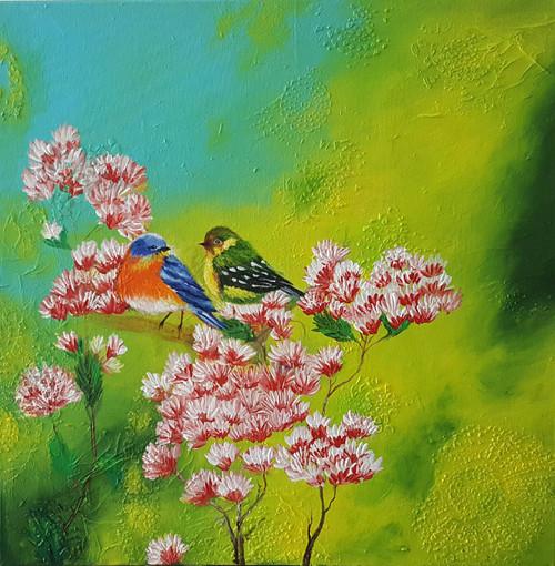 birds, flowers, nature, floral, texture finish, companionship,Togetherness,ART_2117_17505,Artist : Asha Suresh,Acrylic