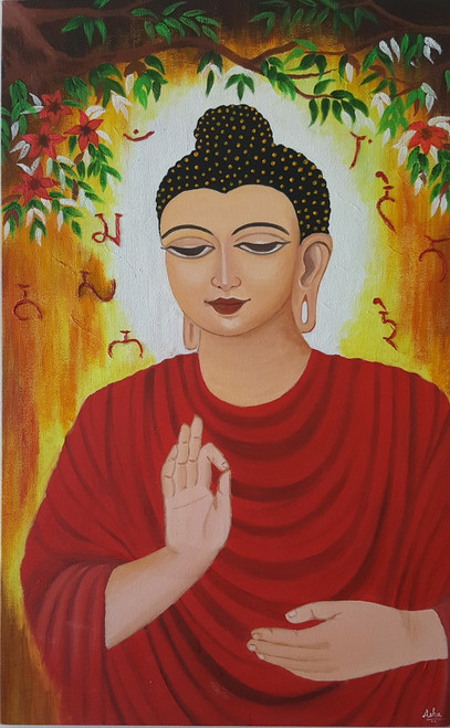 buddha, peace, tranquility, red, meditation,Awakened One,ART_2117_17219,Artist : Asha Suresh,Acrylic