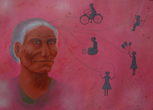 Sweet,memory,time,life,Old,age,sad,lonely,background,SWEET MEMORIE'S,ART_2187_17618,Artist : Neelam Verma,Acrylic