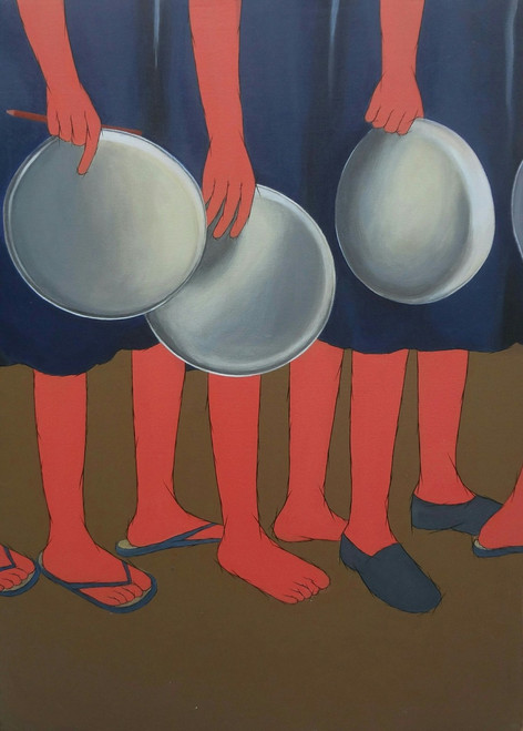 mid,day,meal,children,waiting,food,government,program,schools,afford,lunch,private,MID DAY MEAL,ART_2187_17616,Artist : Neelam Verma,Acrylic