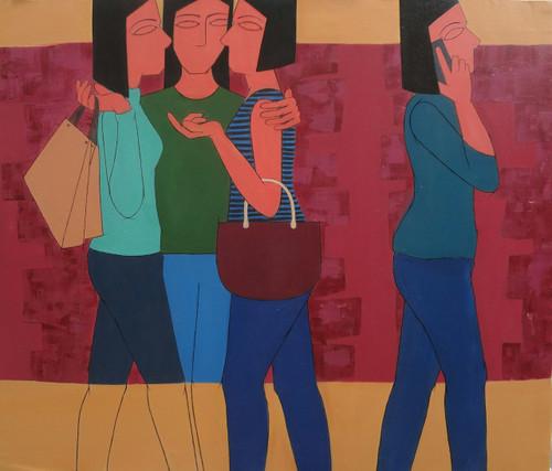 modern,girls,modern,society,culture,changing,families,life,MODERN GIRLS,ART_2187_17615,Artist : Neelam Verma,Acrylic