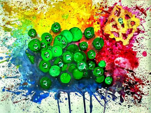 Lotus leaves, Unique lotus leaves, lotus leaves with water droplets, water drops, droplets, color overflowed, flow, splash,Jazz Leaves,ART_2144_17627,Artist : Anirban Kar,Fabric Paints