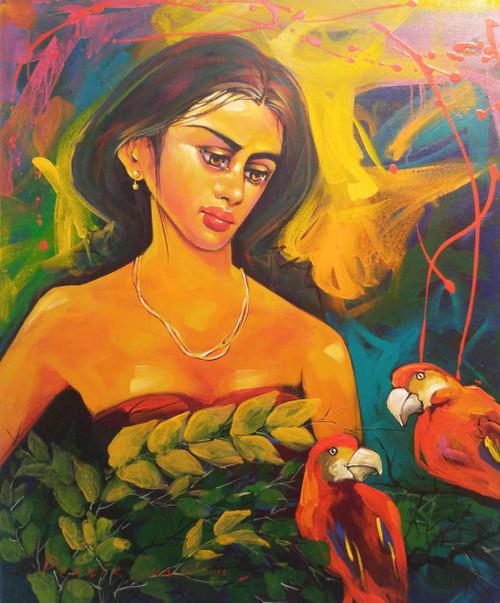 ,Lady,ART_2219_17626,Artist : Prabir Shaw,Acrylic