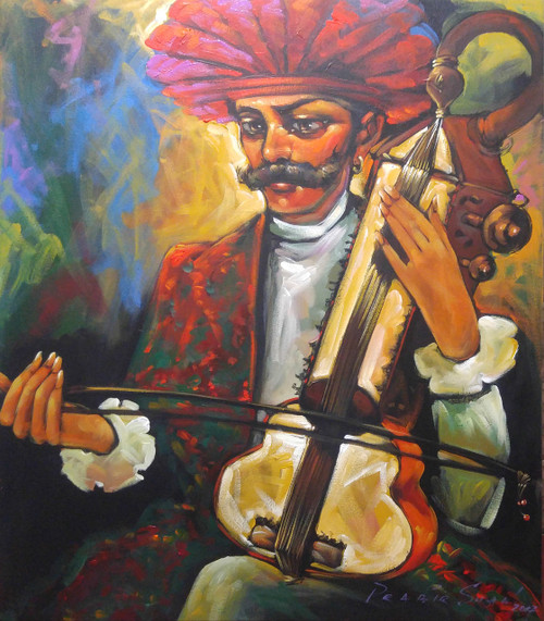 ,The Musician  ,ART_2219_17622,Artist : Prabir Shaw,Acrylic