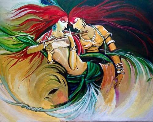 Radha Krishna dance,Dance of ecstasy,ART_2132_17237,Artist : Jayalakshmi Naik,Acrylic