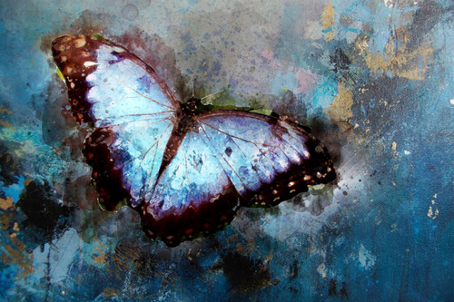 Butterfly, blue, sky, abstract,The blue wings,MTO_1550_17736,Artist : Community Artists Group,Mixed Media