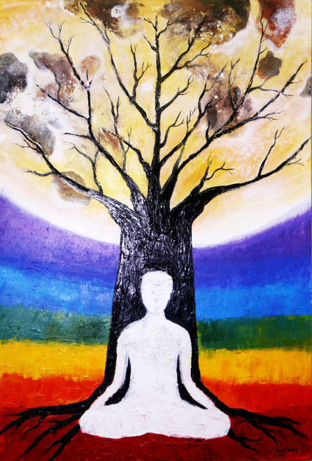 Buddha, Monastery, Meditation, Mountains, Peace, Tranquility, chakra meditation,Chakra Meditation,ART_2113_17732,Artist : Arif Ahmed,Acrylic