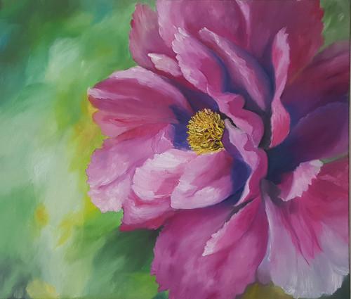 floral, pink flower, oil painting, big flower,Creative Ecstasy,ART_2117_17747,Artist : Asha Suresh,Oil