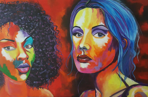 lady faces, colorful portrait, abstract,Unity in Diversity Lady Portraits,ART_2117_17118,Artist : Asha Suresh,Acrylic