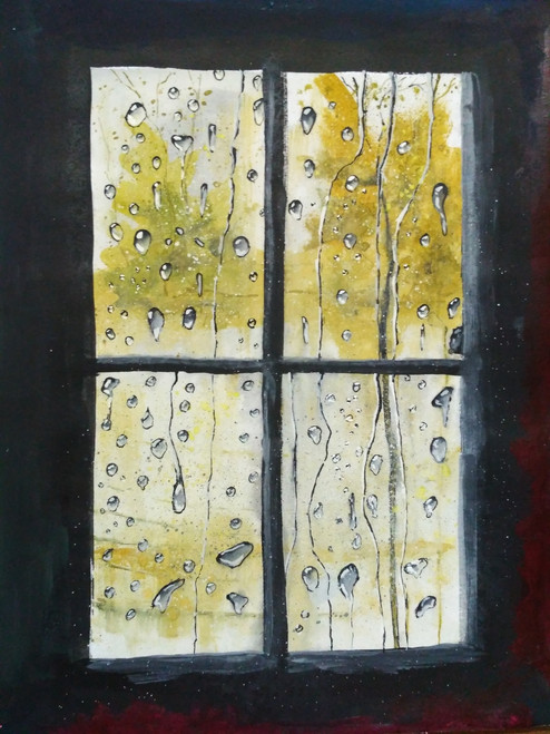 Old Window,Raindrops,Sadness,Nostalgic,Happyness,Old Window,ART_2144_17638,Artist : Anirban Kar,Poster Colors