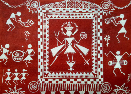 ,warli art-1,ART_1243_17776,Artist : Ujwala Chavan,Acrylic