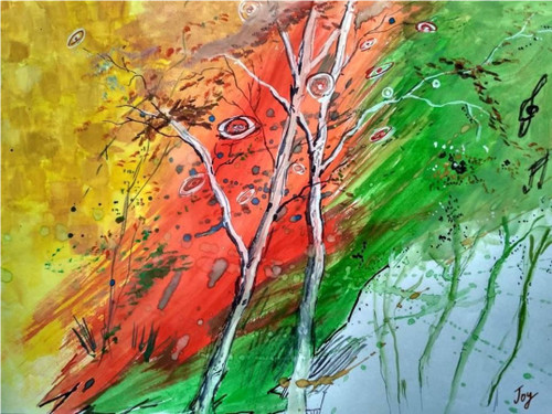 Abstract, fire, wildfire, wild, trees, abstract tree, child's view,Childish Wildfire,ART_2144_17497,Artist : Anirban Kar,Poster Colors