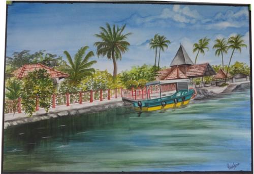 Boat, river, tree, house, river bank,Landscape,ART_2270_17791,Artist : Bushra K,Water Colors