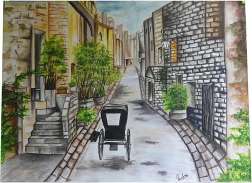 Rickshaw, Colony, Mohalla, lamp post, street,Rickshaw in old mohalla,ART_2270_17790,Artist : Bushra K,Water Colors