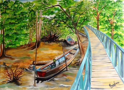 boat, wooden bridge, mangrove forest,boat near wooden bridge,ART_2270_17788,Artist : Bushra K,Oil