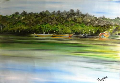 Mangrove, forest, tree, river, back water, boat,Mangrove Forest,ART_2270_17787,Artist : Bushra K,Oil