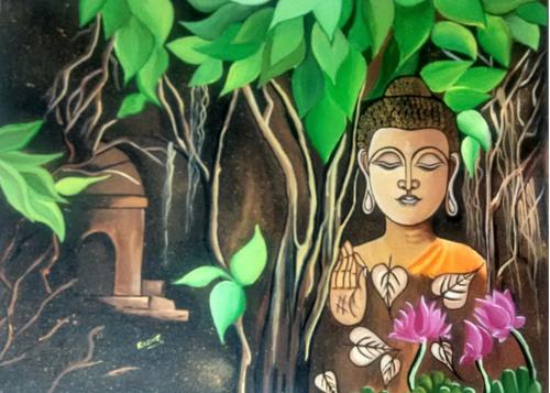 ,Budhha Oil Painting,ART_185_17835,Artist : Radhika Makadia,Oil