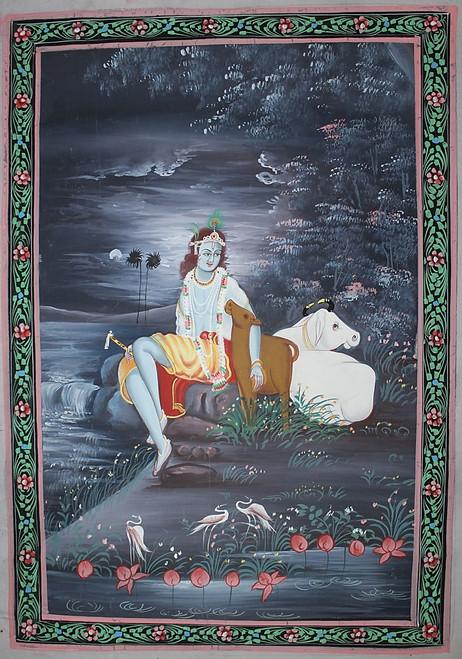 love, krishna, rajasthani miniature, rajasthani painting,The Lord Krishna,ART_2251_17819,Artist : Prem Arts & paintings,Pastels