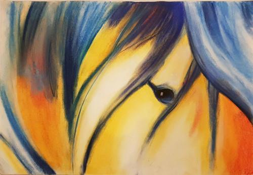 Horse, Eye, Mane,Horse Eye,ART_1474_12021,Artist : Saumya Poddar,Pastels