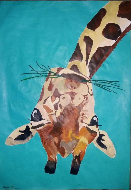 Giraffe,Upside down,ART_2275_17885,Artist : Raja Joanna,Acrylic