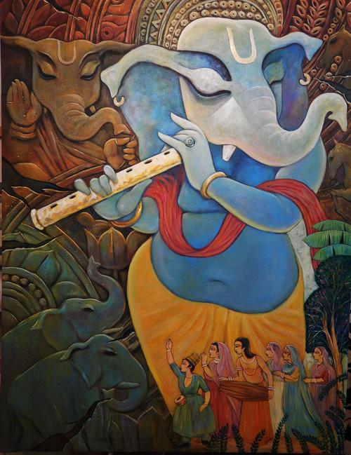 Ganesh, Ganesha, Lord, God, Probhu, Deva, Bhuwanpati, Ekadanta, Durgaputra,VINAYAKA,ART_1469_17869,Artist : Subrata Ghosh,Acrylic