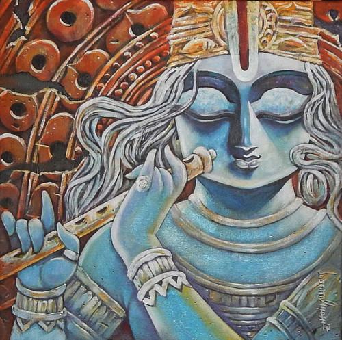 Krishna, Radha, Radhakrishna, Love, Romance, Gopal, Manohora,,TIRUPATI,ART_1469_17867,Artist : Subrata Ghosh,Acrylic
