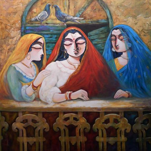 Tin Kanya, Tinkanya, Three Women, Three Lady, Three Girl, Girl, Lady, Women, Power of the women, Love, beautiful, beauty,TIN KANYA II,ART_1469_17866,Artist : Subrata Ghosh,Acrylic