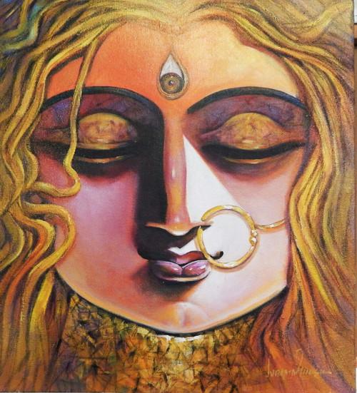 Durga, Devi, Devi Durga, Maa, Mata, Durga Mata,SHAKTI,ART_1469_17862,Artist : Subrata Ghosh,Acrylic