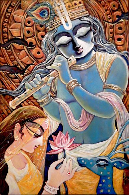 Krishna, Radha, Radhakrishna, Love, Romance, Gopal, Manohora,,POOJA,ART_1469_17861,Artist : Subrata Ghosh,Acrylic
