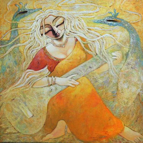 Durga, Devi, Devi Durga, Maa, Mata, Durga Mata, Devi Saraswati, Saraswati, Maa saraswati,Para,ART_1469_17859,Artist : Subrata Ghosh,Acrylic