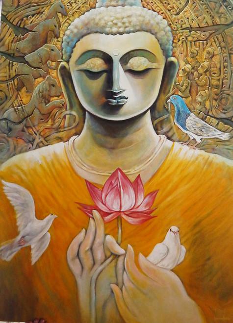 Buddha, Goutam, Siddharth, God, Lord, Deva, Dev, Goutam Buddha,NIRVANA,ART_1469_17858,Artist : Subrata Ghosh,Acrylic