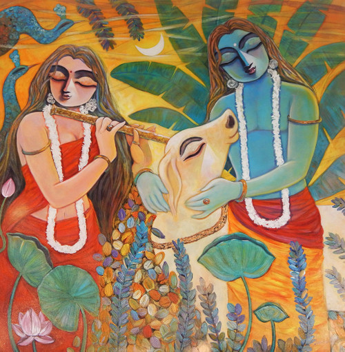 Krishna, Radha, Radhakrishna, Love, Romance, Gopal, Manohora,,NANDAN,ART_1469_17857,Artist : Subrata Ghosh,Acrylic