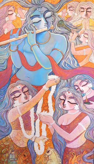 Krishna, Radha, Radhakrishna, Love, Romance, Gopal, Manohora,,MANOHARA,ART_1469_17856,Artist : Subrata Ghosh,Acrylic