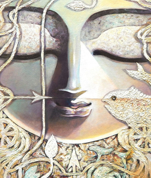 Arjun, Arjuna, Inner eye, Krishna, Lord, god,INNER EYE,ART_1469_17848,Artist : Subrata Ghosh,Acrylic