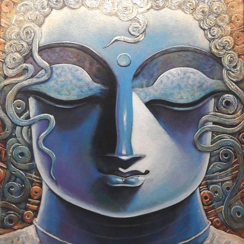 Buddha, Goutam, Siddharth, God, Lord, Deva, Dev, Goutam Buddha,GOUTAM,ART_1469_17847,Artist : Subrata Ghosh,Acrylic