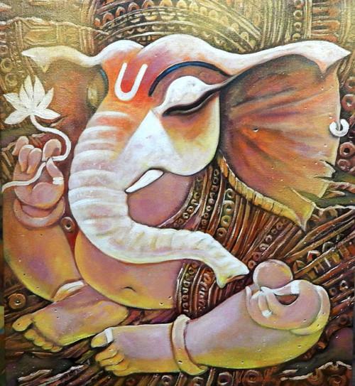 Ganesh, Ganesha, Lord, God, Probhu, Deva, Bhuwanpati, Ekadanta, Durgaputra,EKADANTA,ART_1469_17845,Artist : Subrata Ghosh,Acrylic