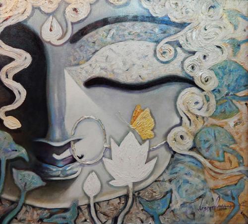 Durga, Devi, Devi Durga, Maa, Mata, Durga Mata,DEVI,ART_1469_17844,Artist : Subrata Ghosh,Acrylic