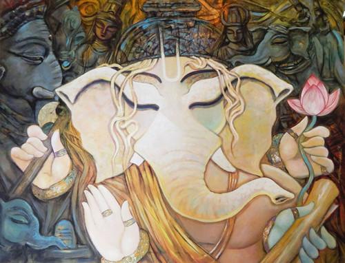 Ganesh, Ganesha, Lord, God, Probhu, Deva, Bhuwanpati, Ekadanta, Durgaputra,BHUWANPATI,ART_1469_17842,Artist : Subrata Ghosh,Acrylic