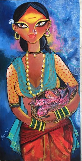 kamalnayani,Traditional beauty,ART_2132_17905,Artist : Jayalakshmi Naik,Acrylic