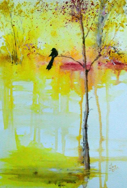 Bird,Bright,Trees,Life,Lake,River,Water,Reflection,Bengali,,Anondo Dhara,ART_2144_17633,Artist : Anirban Kar,Poster Colors