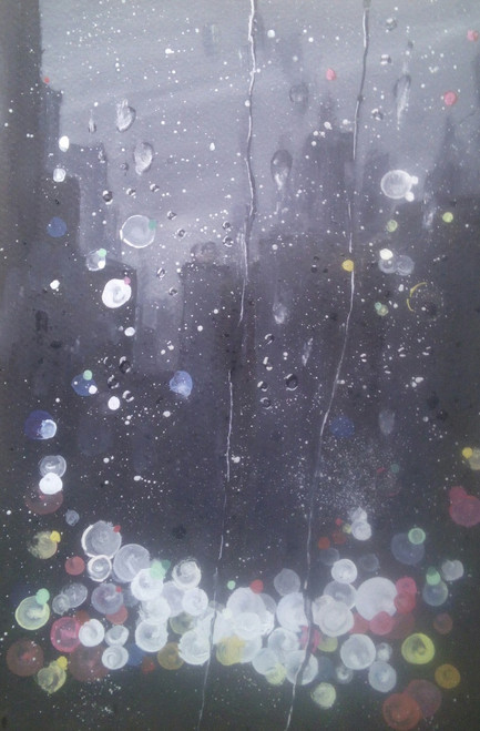 black, citysape, intense darkness,rainy window, window, darkness, city lights,,A Rainy Abstract,ART_2144_17499,Artist : Anirban Kar,Poster Colors