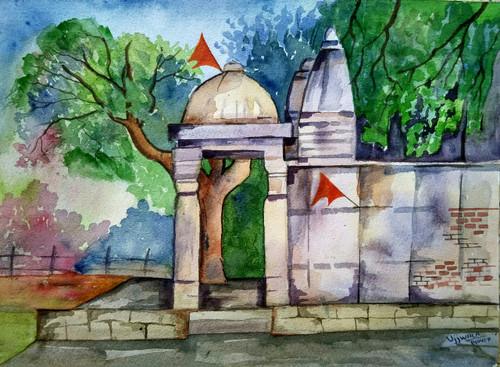 ,Temple series-1,ART_1243_17920,Artist : Ujwala Chavan,Water Colors