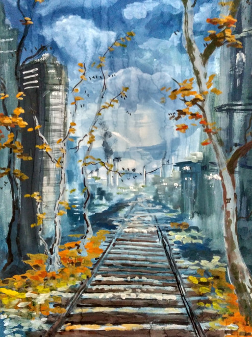 Landscape, Rainy day, Rail track, Nature,Cloudy,Lonely,Abstract Railtrack,ART_2144_17924,Artist : Anirban Kar,Mixed Media
