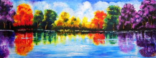 Landscape, Nature, Lake, Water,Realm of Serene,ART_1140_17969,Artist : Neeraj Parswal,Acrylic