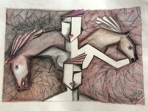 ,Emotions of human and animals,ART_2085_17946,Artist : KIRTI JADHAV,Pencil