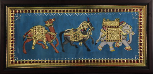 Tanjore,elephant,horse,camel,gold,Royal Cavalcade Tanjore,ART_65_11907,Artist : Sarandha D L,Mixed Media